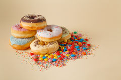 Party decoration. Donuts with confetti Stock Image