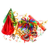 Party decoration garlands, serpentine, cracker, confetti Stock Photos