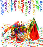 Party decoration with garlands, streamer, confetti, cracker. Funny glasses on white background Royalty Free Stock Photography