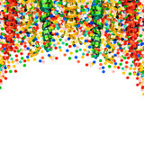 Party decoration garlands, streamer and confetti Stock Photos