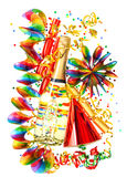 Party decoration with garlands, streamer, cracker Royalty Free Stock Photography