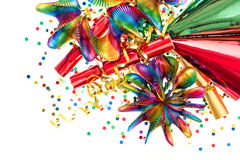 Party decoration with garlands, streamer, cracker confetti Stock Photos
