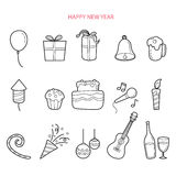 Party Decoration Outline Icons Set, Monochrome Royalty Free Stock Photography