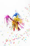 Party decoration. With party pickers and confetti Royalty Free Stock Photography