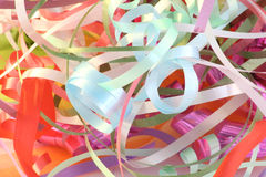 Party decoration ribbons. Pile of party decoration ribbons stock image