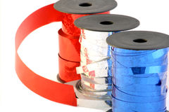 Party decoration ribbons. Red, white and blue Stock Photography
