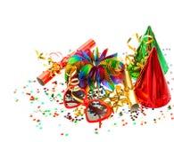 Party decoration serpentine confetti Holidays background Stock Photo