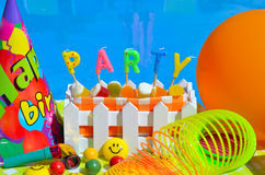 Party decoration. Party decoration on the swimming pool background Royalty Free Stock Photo