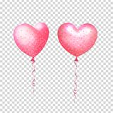 Party decorations for birthday, anniversary, celebration. Inflatable air flying balloons in form of hearts with confetti. Isolated and transparent with glass stock illustration