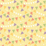 Party Decorations Bunting Seamless Pattern. Vector Party Decorations Bunting Seamless Pattern Background with triangular bunting and stars in shades of red Stock Photo
