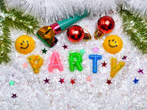 Party decorations on the Christmas background. Stock Photo