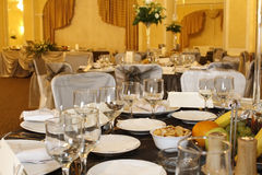Party decorations for corporate lunch Royalty Free Stock Images