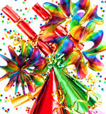 Party decorations garlands, streamer, confetti Royalty Free Stock Photo