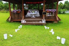 Party decorations on table in baptism royalty free stock photo