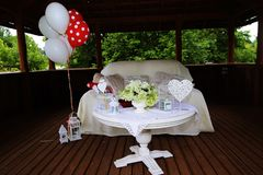 Party decorations on table in baptism Stock Image