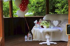Party decorations on table royalty free stock photo