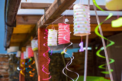 Party derocations. Party decoration in home veranda Royalty Free Stock Images