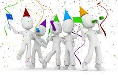 Party des Mannes 3d, getrennt auf weißem Hintergrund Stockbild