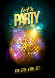 Party design with gold disco ball. Royalty Free Stock Photos