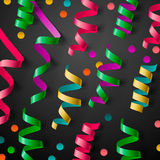 Party design template with streamers and confetti Royalty Free Stock Images