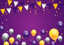 Party Dia das Bruxas feliz no fundo com bandeiras e balões Imagens de Stock Royalty Free