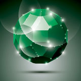 Party dimensional green sparkling disco ball. Vector abstract ga Stock Photos