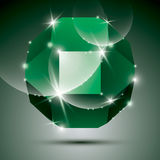Party dimensional green sparkling disco ball. Vector dazzling ab Stock Photography