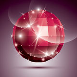Party dimensional red sparkling disco ball created from geometri Royalty Free Stock Photos