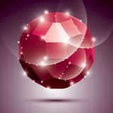 Party dimensional red sparkling disco ball. Vector abstract gala Royalty Free Stock Photos