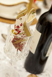 Party dinner table with wine. Party dinner table with red wine and napkin Stock Photos