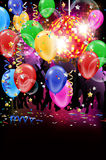 Party with disco ball, flying balloons and confetti Stock Images