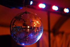 Party Disco Ball. This is a picture of a disco ball at a wedding party royalty free stock photography