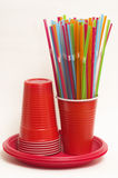 Party disposable tableware set Stock Images
