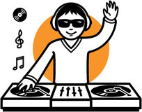 Party DJ at turntable illustration Stock Images