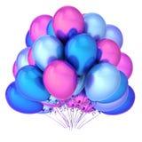 Party do grupo colorido da decoração dos balões o rosa violeta azul Ilustração Royalty Free