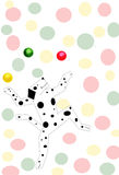 Party dog. Dancing, juggling dog with spots, colorful spotted background Stock Image
