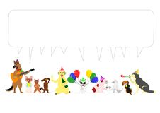 Party dogs border with speech bubbles Stock Photography
