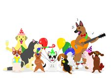 Party Dogs Group Royalty Free Stock Images