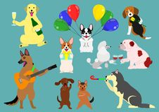 Party dogs. Set of various party dogs Royalty Free Stock Photo
