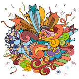 Party doodle colorful theme background with circles, stars, curls Stock Image