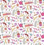 Party doodle seamless vector pattern. Party birthday celebration holiday cute colorful doodle seamless vector pattern Royalty Free Stock Photography