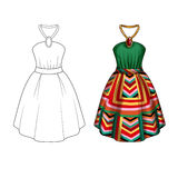 Party dress with collar tie and wide skirt in printed geometrical fabric Stock Images