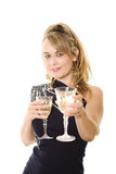 Party dress and wine Stock Photography