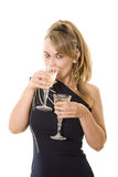 Party dress and wine Stock Image