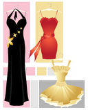Party dresses. An illustration of three party dresses in red gold and black on an abstract background Royalty Free Stock Image