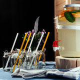 Party drink station with small bottles and homemade lemonade Royalty Free Stock Image