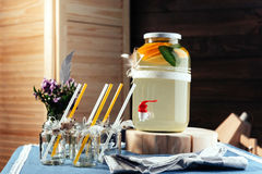 Party drink station with small bottles and homemade lemonade Stock Photography