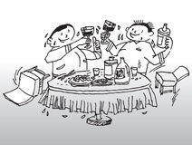 Party drinking illustration. Hand drawn image of 2 men drinking over dinner table vector illustration