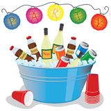 Party Drinks. Beer, wine and soda in an ice filled tub with party lanterns Royalty Free Stock Image