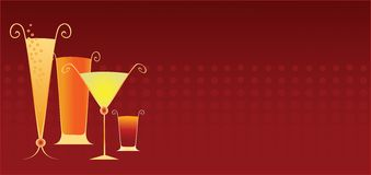 Party Drinks. On modern red background banner stock illustration